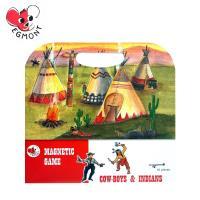 【BabyTiger虎兒寶】比利時 Egmont Toys 艾格蒙繪本風遊戲磁貼書 - 牛仔與印第安