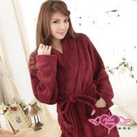 天使霓裳 法式甜心柔情 綁帶柔軟珊瑚絨睡袍(酒紅F) AB11913