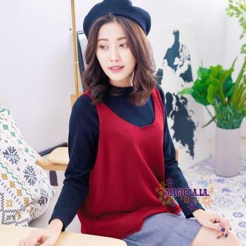 現貨【魔法拉拉】背心長袖兩件式針織上衣K552(亮麗紅)
