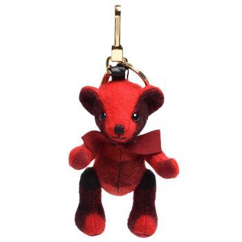 BURBERRY Thomas經典格紋蝴蝶結泰迪熊鑰匙圈/吊飾(繽紛鮮紅色)
