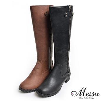 【Messa米莎專櫃女鞋】MIT-都市女伶簡約側拉鍊皮革長筒靴-兩色
