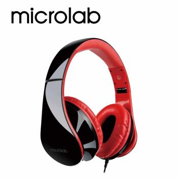 【Microlab】K360多功能立體聲多媒體耳機 (含通訊麥克風)_BR黑紅