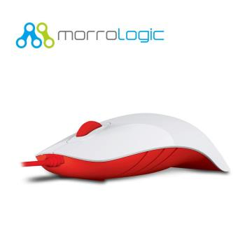 【MorroLogic】 繽紛蘋果鯊USB精密光學有線滑鼠 WFR白紅