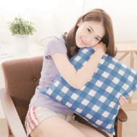【奶油獅】格紋系列-台灣製造-100%精梳純棉可拆洗方型抱枕(含枕心)50CM(藍)