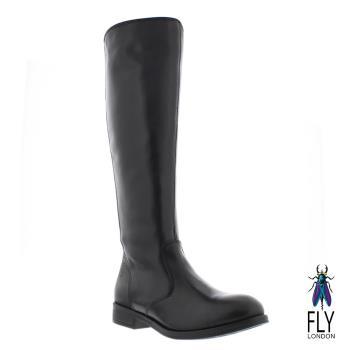 Fly London(女) 超軟牛皮低跟長筒靴-黑
