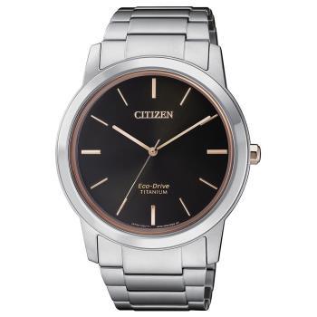 【CITIZEN 星辰】PAIR對錶系列 Eco-Drive 簡約紳士品味光動能鈦金屬腕錶-黑x玫瑰金/41mm(AW2024-81E)