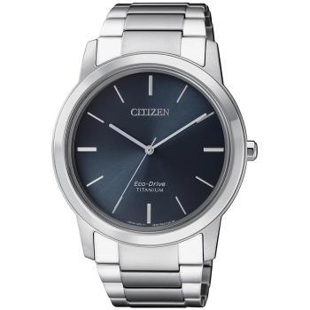 【CITIZEN 星辰】GENT Eco-Drive 簡約紳士品味光動能鈦金屬腕錶-深藍(AW2020-82L)