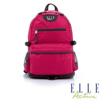ELLE Active 格紋-後背包(中)-桃紅色