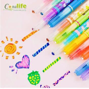 Conalife 創意塗鴉神器變色雙頭螢光筆 (4入)