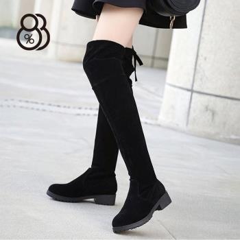 88% 秋冬保暖舒適4CM中粗跟彈力布絨面顯瘦修長美腿過膝靴膝上靴長靴