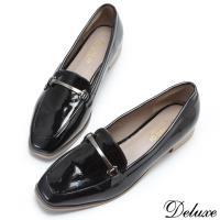 【Deluxe】英倫質感金屬亮皮休閒鞋(黑)-2016-2