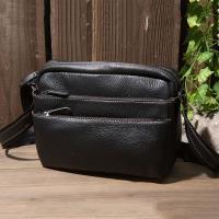 【H-CT】造型多拉鍊黑色真皮側背包(EU98601-1B-Y)