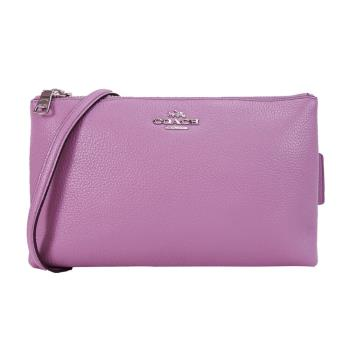 COACH 荔枝紋雙拉鍊三層斜背包(粉紫)