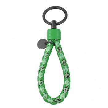 BOTTEGA VENETA 113539 經典編織羊皮LOGO吊飾鑰匙圈.綠
