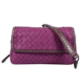 BOTTEGA VENETA 370342 經典編織羊皮斜背晚宴鍊包.紫