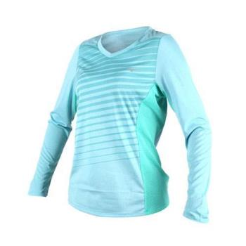 MIZUNO 女路跑長袖T恤-T恤 長T 慢跑 健身 瑜珈 美津濃 湖水綠