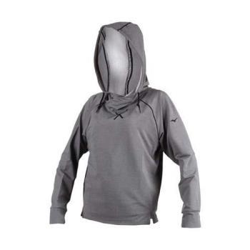 MIZUNO 女保暖長袖連帽T恤-慢跑 路跑 健身 帽T 美津濃 灰黑