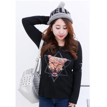 (現貨RN-girls)-【MA1060】街頭風潮加大萊卡棉舒適貼布印花動物款長袖薄T恤-,