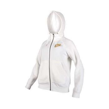 NIKE 女子針織連帽外套-慢跑 路跑 保暖 刷毛 白金