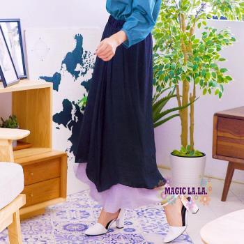 現貨【魔法拉拉】不規則飄逸雙層長裙A534(氣質黑)