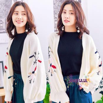 現貨【魔法拉拉】韓風雙袖毛線繡花開襟外套-K551(氣質米白)