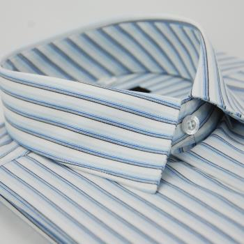 【金安德森】白底藍黑線條長袖襯衫