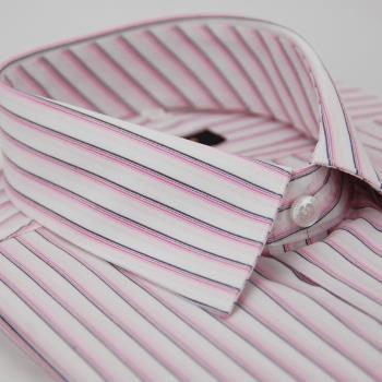 【金安德森】白底粉色線條長袖襯衫