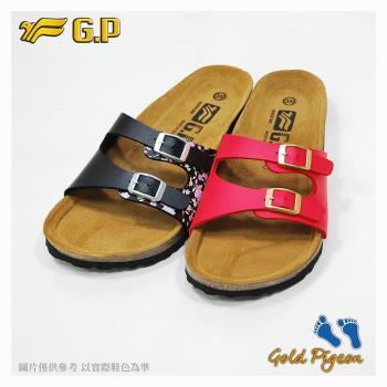 G.P 休閒個性柏肯鞋W782-黑色/紅色(SIZE:35-39 共二色)