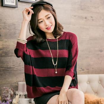 【lingling】簡約寬版橫條紋寬鬆針織衫上衣(甜棗紅黑)A2677-02