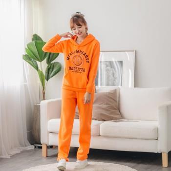 【JimmyWang】 橘色19連帽長袖上衣+長褲套裝2件組