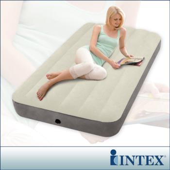 【INTEX】新型氣柱-單人加大植絨充氣床墊-寬99cm(64101)
