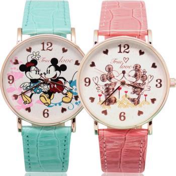 【Disney迪士尼】超薄玫瑰金 時尚鏡面腕錶 - 郊遊 米奇米妮 / 甜蜜 米奇米妮   ( 2款任選 )