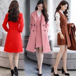BubbleCoCo 魅力時尚兩件式穿搭毛呢背心裙+大衣外套3色五碼 ST26