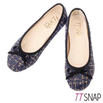 TTSNAP娃娃鞋-MIT全真皮 小香風蝴蝶結柔軟Q平底鞋 毛呢藍