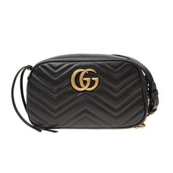 GUCCI GG Marmont系列 仿舊 金雙G LOGO 牛皮山型紋 相機包 肩背包 (黑-447632)