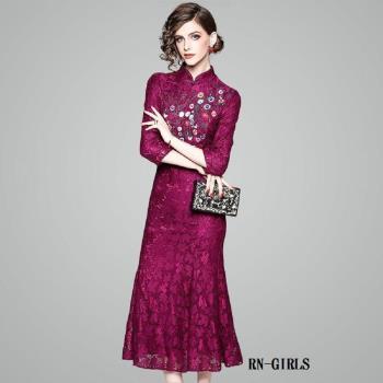 (現貨+預購 RN-girls)-【OL80011】極美精品蕾絲繡花魚尾裙襬長洋裝小禮服