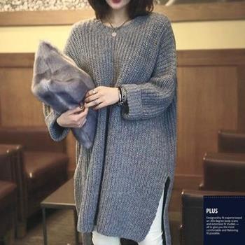 SCL超長及膝寬鬆版顯瘦開衩針織毛衣 T17189