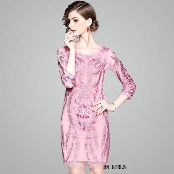 RN-girls-極美精品粉色刺繡長袖洋裝小禮服