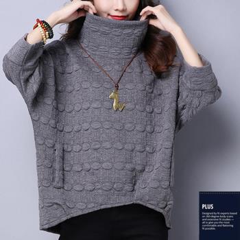 SCL保暖高領9分袖寬鬆弧度毛衣M~2L 黑灰紅  T17188