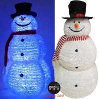摩達客 中型(105CM)白色彈簧摺疊雪人玩偶擺飾 (100燈LED燈藍白光插電式)