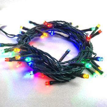 摩達客 50燈LED燈串聖誕燈 (四彩色光/綠線)(附控制器跳機)高亮度又省電