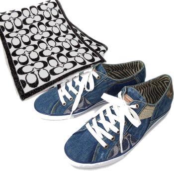 [超值組合]COACH單寧拼湊帆布鞋 (7.5)+黑白金蔥LOGO羊毛圍巾(黑白色127cm)