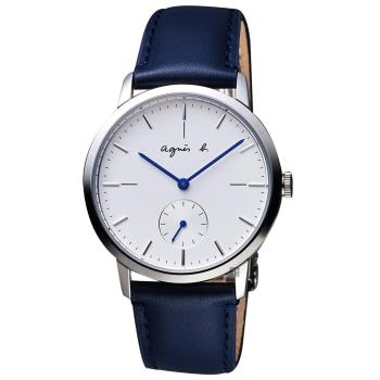 agnes b. 法國時尚小秒針手錶-白x深藍色錶帶 38mm VD78-KLB0B(BN4001X1)