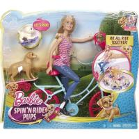 【 MATTEL 】單車芭比與狗狗兜風組