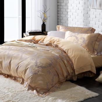 HOYA H Series尊爵流金 加大四件式臻絲長纖棉緹花被套床包組-贈蠶絲被