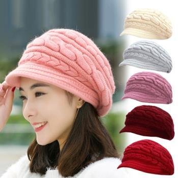 幸福揚邑-麻花針織毛線帽防風保暖加絨貝蕾帽兔毛帽 6色任選