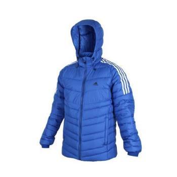 ADIDAS 男羽絨外套-保暖 蓄暖 立領 防寒 連帽外套 愛迪達 藍白黑