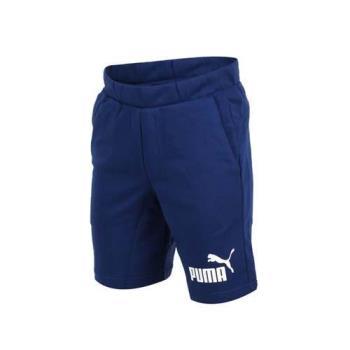 PUMA 男LOGO 9吋棉短褲-慢跑 路跑 深藍白