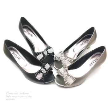 【 cher美鞋】MIT華麗蝴蝶寶石魚口露趾高跟鞋 (黑 灰2色) -062129081-87