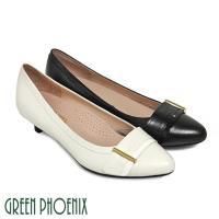GREEN PHOENIX 知性優雅寬版金屬裝飾扣尖頭低跟包鞋U32-24W07